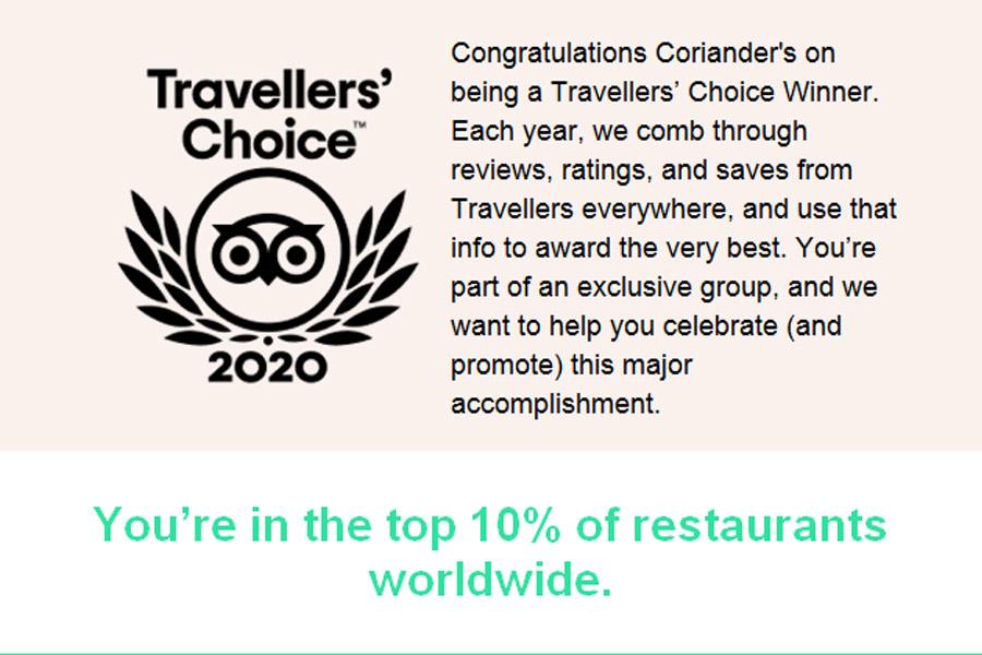 coriander's restaurant is tripadvisor traveller's choice
